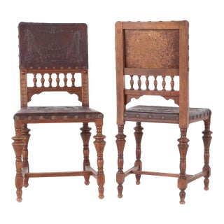 Antique Gothic Carved Oak Leather Side Chairs - Pair of 2 For Sale