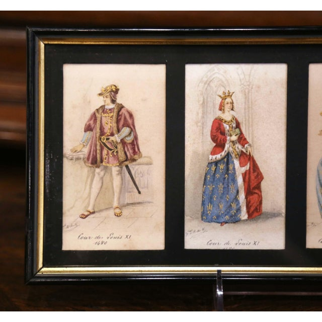 """French 19th Century French King of France Framed Color Prints """"Set of Three"""" For Sale - Image 3 of 12"""