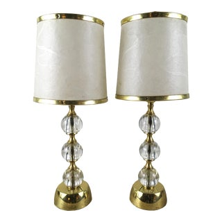 1950s Stacked Glass Sphere Lamps - A Pair
