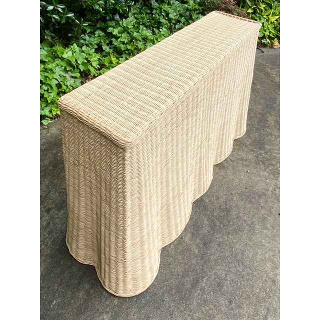 Natural Rattan Trompe l'Oeil Console Table For Sale In Atlanta - Image 6 of 13