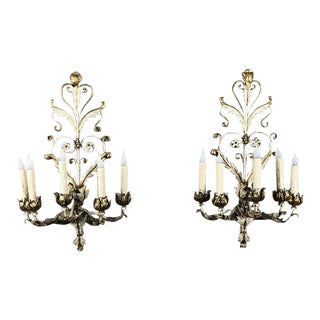 Antique Wrought Iron Painted Sconces - a Pair For Sale