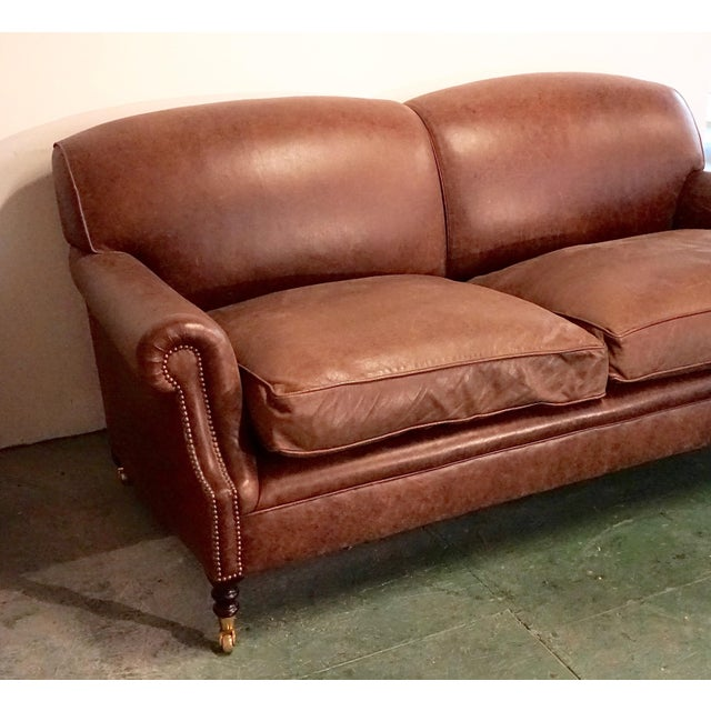 """Traditional Modern George Smith 70"""" Chocolate Brown Leather Three Seater Sofa For Sale - Image 3 of 11"""