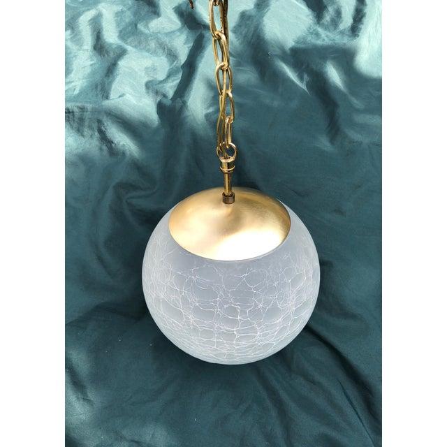 Vintage Moe Light Crackled Etched Glass Pendant Globe Light For Sale In Cleveland - Image 6 of 8