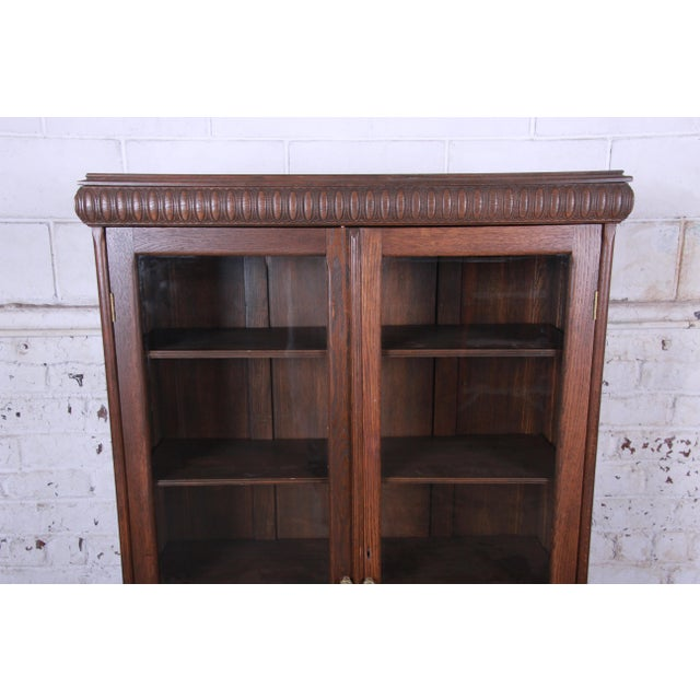 Arts & Crafts Antique Carved Oak Glass Front Locking Bookcase For Sale - Image 3 of 13