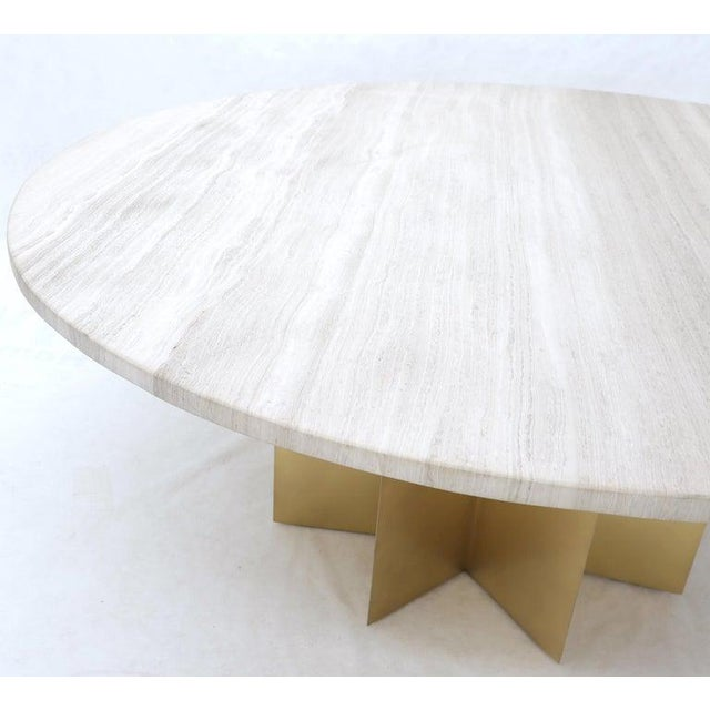 """Modern 72"""" Diameter 1"""" Travertine Marble-Top Round Dining Conference Table Star Base For Sale - Image 3 of 13"""