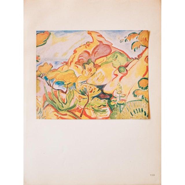 "Yellow 1948 Othon Friesz, Original Period Lithograph ""Paysage a La Ciotat"" For Sale - Image 8 of 8"