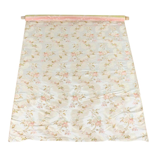 Roll of 7 Yards Heavy Floral Embroidered Silk Brocade Satin Upholstery Fabric - Image 1 of 9