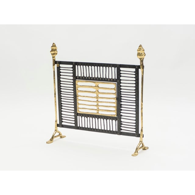 Unique Brass and Wrought Iron Fire Screen Manner of Garouste and Bonetti, 1980s For Sale - Image 6 of 13