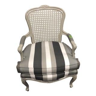 Monochrome Striped Bergere For Sale