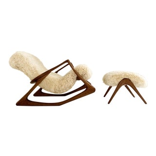 Vladimir Kagan Sculpted Rocking Chair and Ottoman in California Sheepskin For Sale