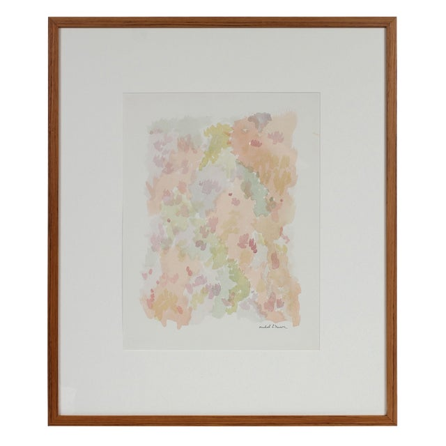 Colorful Minimalist Abstract Watercolor Painting in Pink, Green, Blue, 1963 For Sale In San Francisco - Image 6 of 6