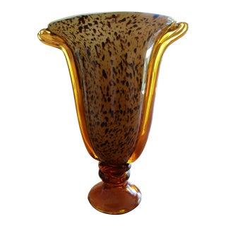 Tortoise Art Glass Vase