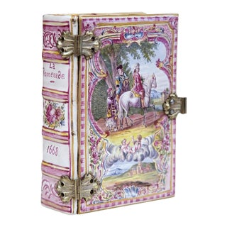 Circa 1840 French Hand-Painted Porcelain Book Shaped Jewelry Box