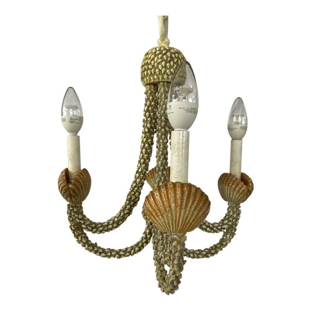 Coastal Faux Seashell Chandelier For Sale