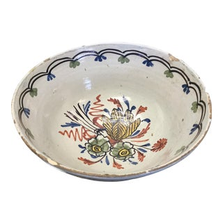 18th Century Polychrome Delft Bowl For Sale