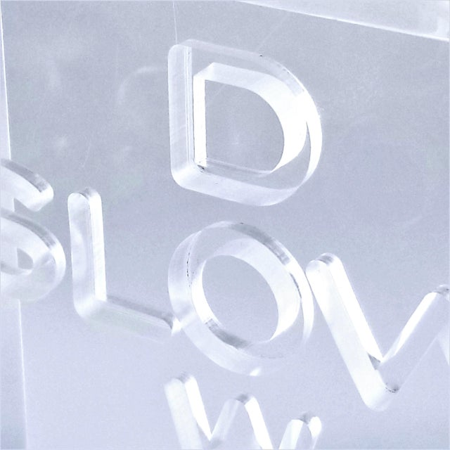 """Pop Art 1960s Lucite Sculpture With Engraved """"Slow Down"""" Text For Sale - Image 10 of 13"""