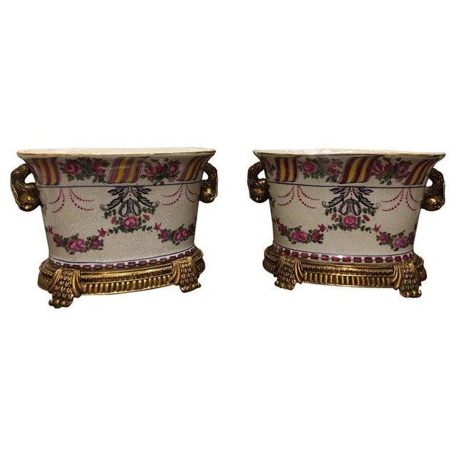 Porcelain Cache Pots or Jardinières with a Floral Motif, 20th Century - A Pair For Sale - Image 10 of 10