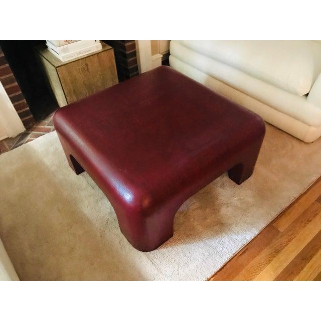 1980s Linen-Wrapped Oxblood-Red Cocktail Table After Karl Springer For Sale - Image 5 of 8