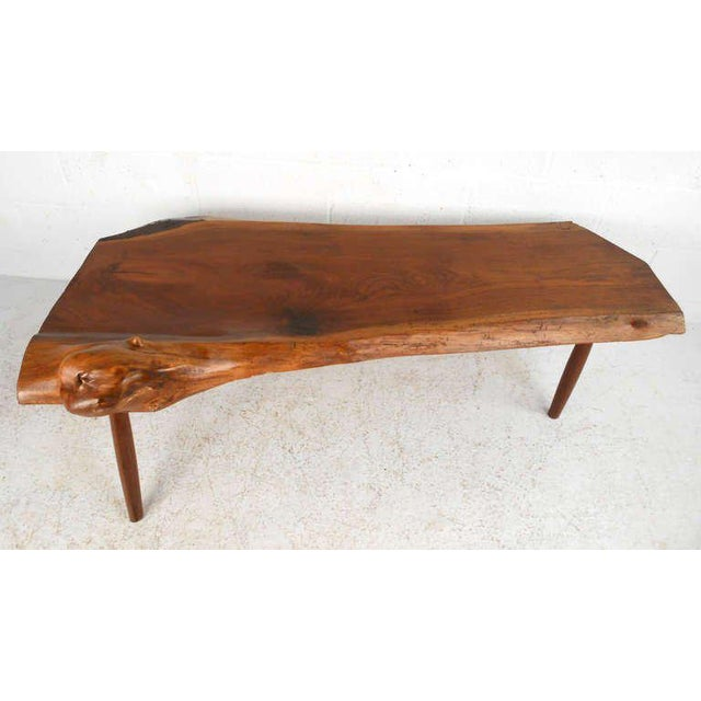 Rustic Unique Vintage Wood Slab Coffee Table For Sale - Image 3 of 8