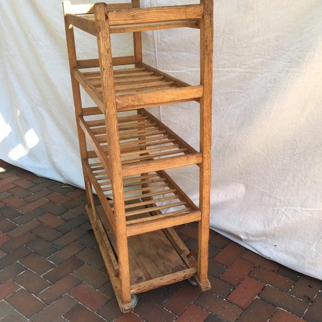 Vintage Industrial Wooden Bakers Rack For Sale - Image 5 of 10
