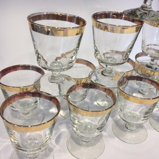 Mid-Century Gold Rim Rocks Cocktail Glasses - Set of 12 - Image 9 of 11
