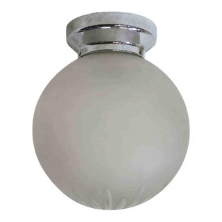 Art Deco Cut Crystal Frosted Sphere Ceiling Glass Globe Pendant For Sale