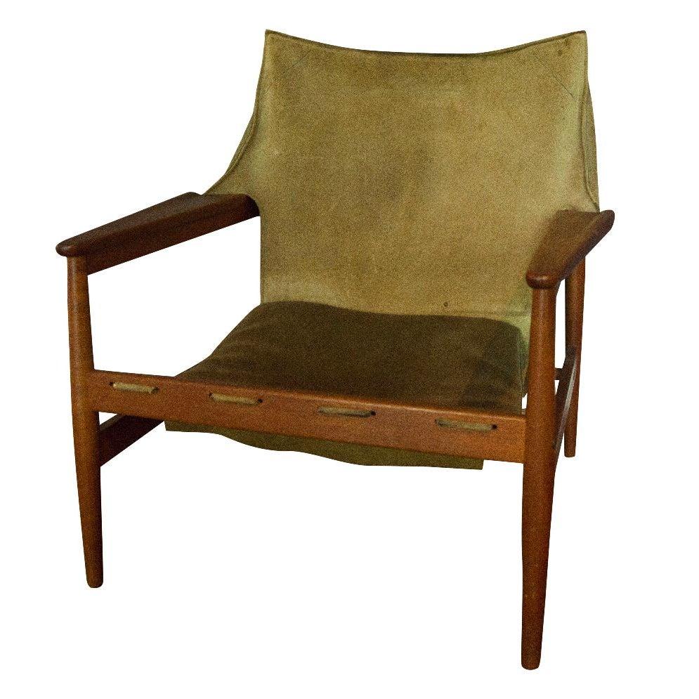 Vintage Hans Olsen Suede Sling Chair | Chairish