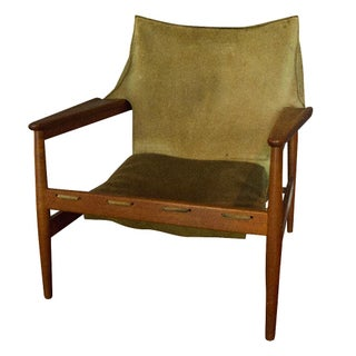 Vintage Hans Olsen Suede Sling Chair For Sale