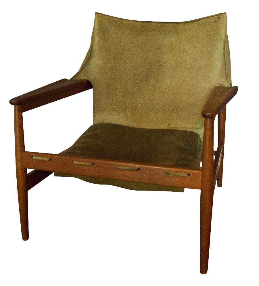 Vintage Hans Olsen Suede Sling Chair   Image 1 Of 7