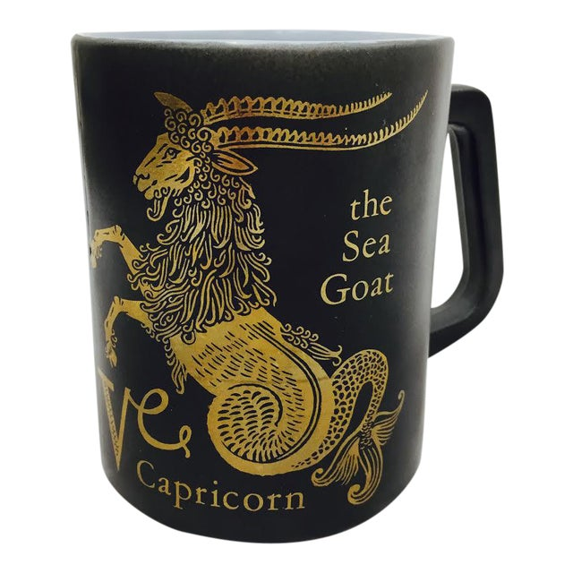 Vintage Black & Gold Zodiac Coffee Cup Mug For Sale