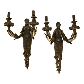 Empire Style 18k Dore ' Gold Plate Two Arms Lady Sconces - a Pair For Sale
