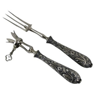 19th C. French Silver Manche a Gigot D'Agneau, Fork & Bone Clamp S/2 For Sale