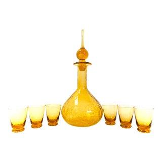 "Mid-Century Amber Blown Glass Party Barware Set   13"" Crackle Glass Genie Decanter & Aperitif/Shot Glasses   7-Piece Vintage Cocktail Set For Sale"