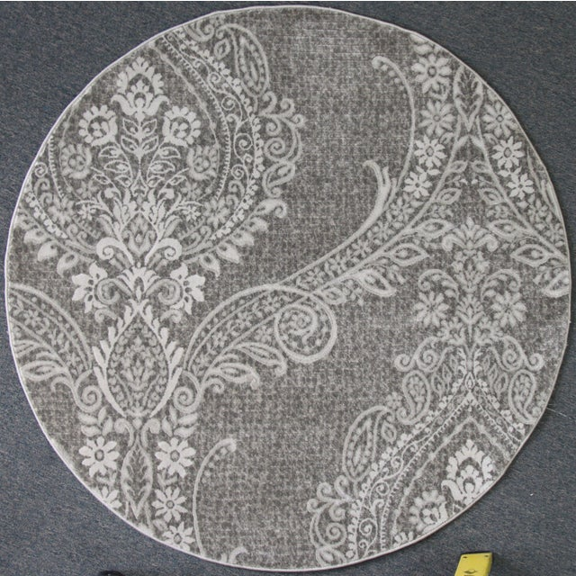 Gray Damask Transitional Rug - 5' Round - Image 2 of 3