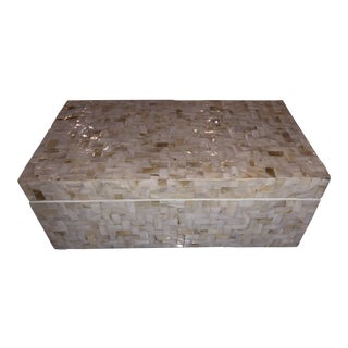 Boho Chic Large Tozai Home Lamina Box With Herringbone Pattern For Sale