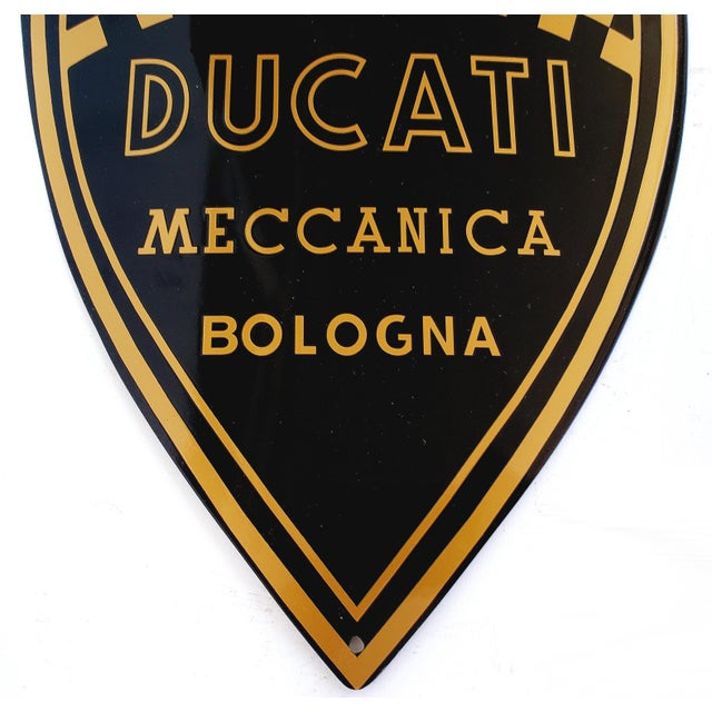 Italian Vintage Ducati, Italy - Enamel Motorcycle Sign For Sale - Image 3 of 5