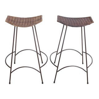 Set of 2 Raymor Arthur Umanoff Wicker and Iron Bar Stools