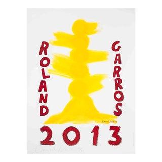 David Nash-Roland Garros-2013 Offset Lithograph-SIGNED For Sale