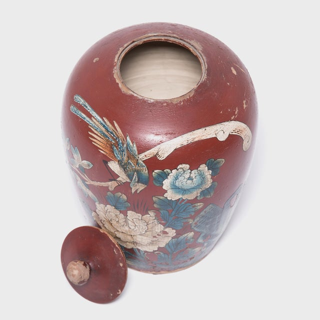 Ceramic Chinese Painted Oxblood Jars With Phoenix & Peonies - a Pair For Sale - Image 7 of 13