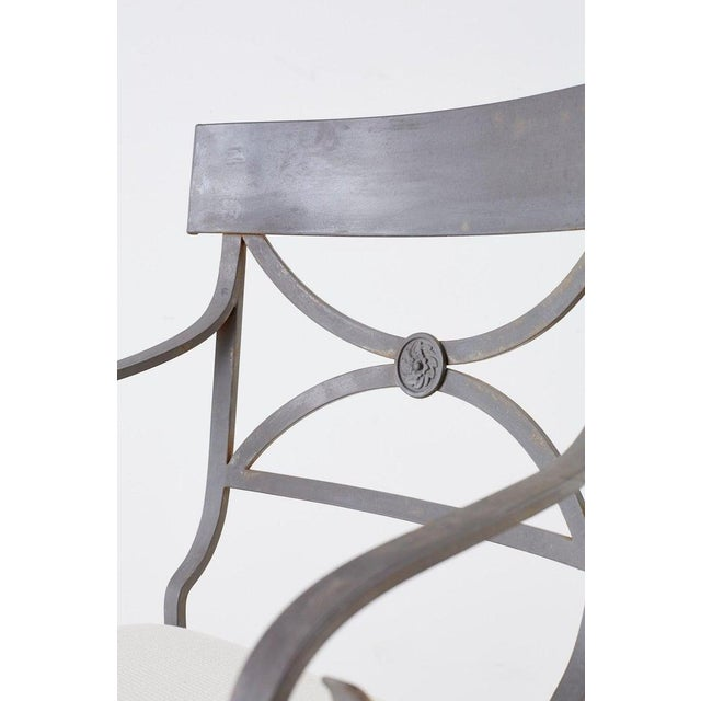 White Set of Four Regency Style Iron Garden Patio Chairs For Sale - Image 8 of 13