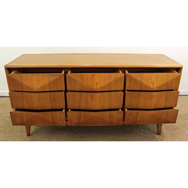 Mid-Century Danish Modern 3D Diamond Front Walnut Credenza For Sale In Philadelphia - Image 6 of 11