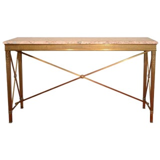 American Art Deco Bronze and Marble Console Table, Circa 1920s For Sale