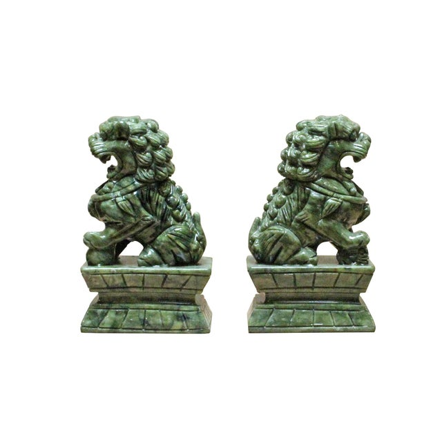 2010s Chinese Green Stone Carved Foo Dog Fengshui Figures - a Pair For Sale - Image 5 of 7