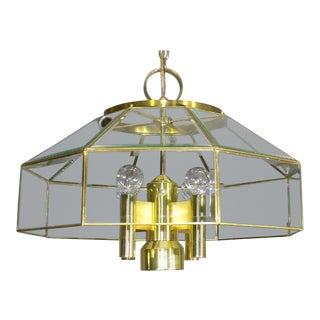 1980's Vintage Lightolier Brass Hanging Light Fixture For Sale