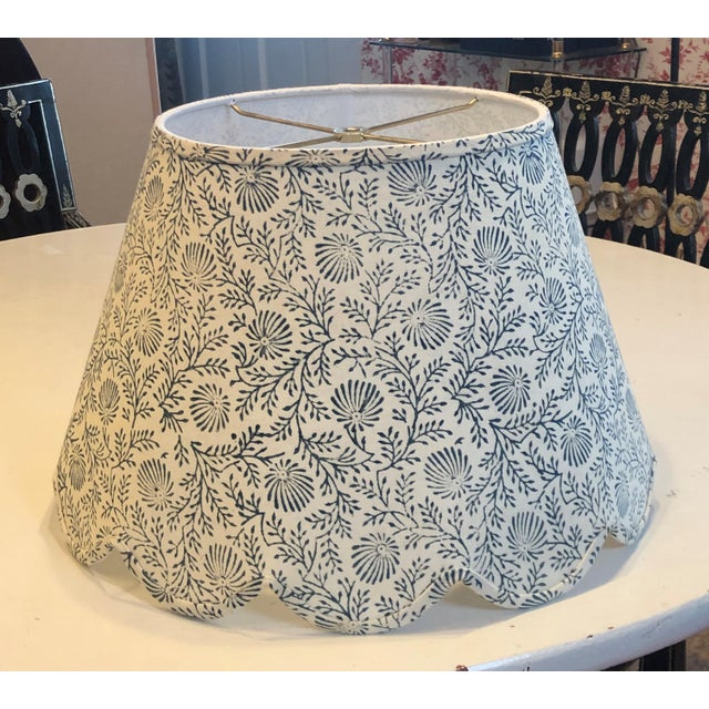 Large Indian Block Print/Spray Scalloped Lamp Shade For Sale - Image 4 of 4