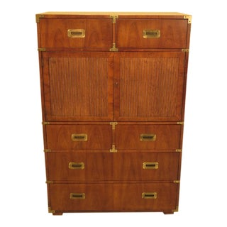 1980s Vintage Henredon Walnut Campaign Style Chifferobe Chest For Sale