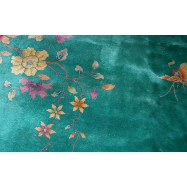 1920s Hand Made Antique Art Deco Chinese Rug - 8′10″ × 11′7″ For Sale - Image 4 of 9