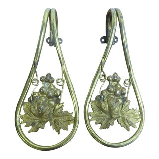 Antique Victorian Cast Brass Curtain Drapery Tiebacks - A Pair For Sale