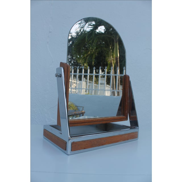 Chrome & Wood Vanity Mirror For Sale - Image 5 of 8