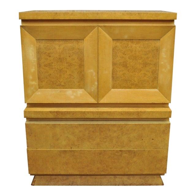 Mid Century Modern Burl Wood Tall Chest Dresser By Red Lion